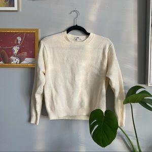 Uniqlo White 100% Wool Sweater